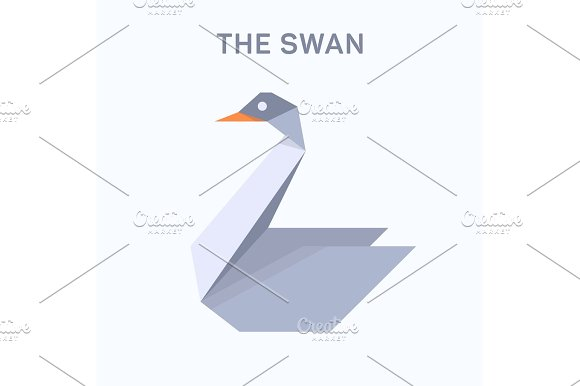 Swan Origami Illustration Verge Flat Trend Style