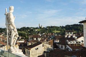 Statue overlooking Italian town