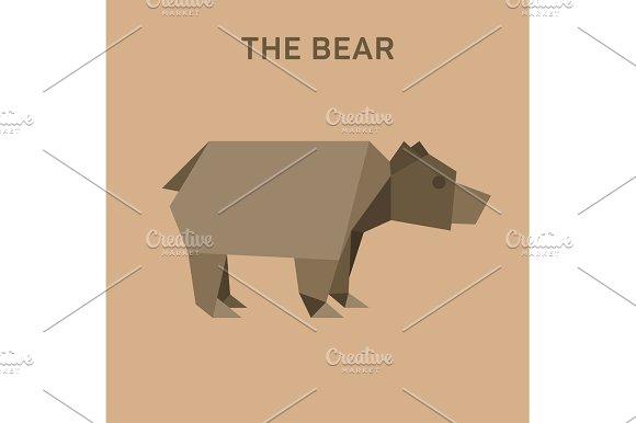 Bear Animals Origami Vector Illustration Flat