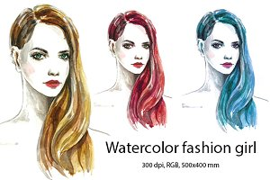 Watercolor fashion beautiful girl