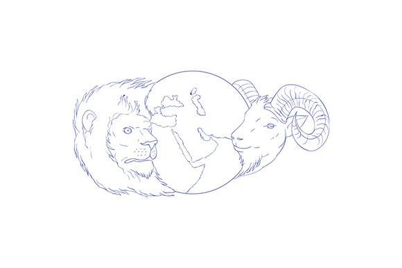Lion Ram Globe Middle East Drawing