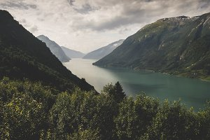 Fjords in Norway with mountains
