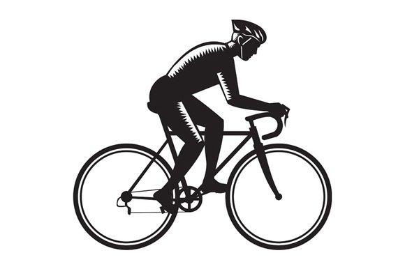 Road Cyclist Racing Woodcut