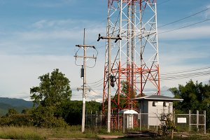 Transmission towers the phone
