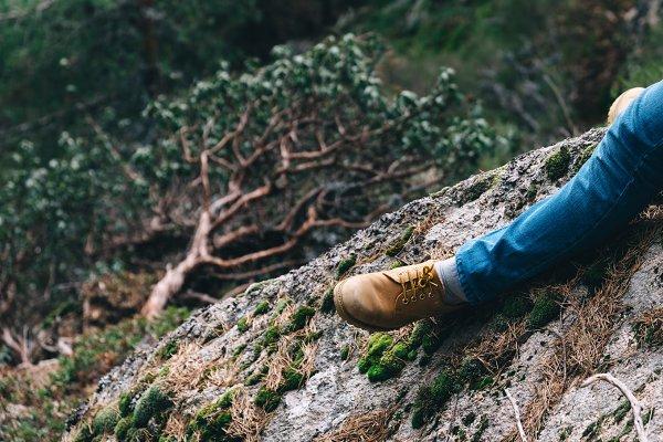 Man feet on nature