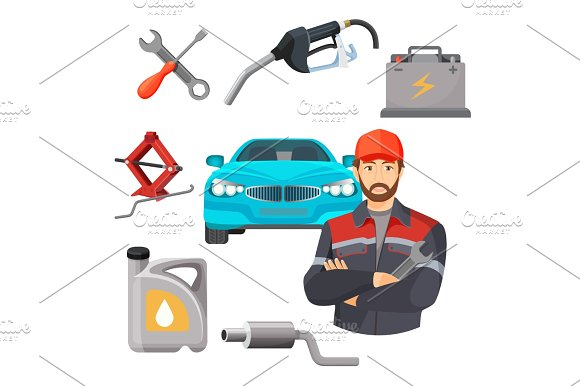 Car Service Set Worker Near Expensive Automobile And Working Tools