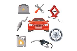 Car service set. Red automobile and working equipment around. Vector