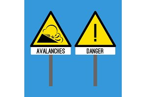 Road sign avalanches. Snowslide or snowslip rapid flow of snow