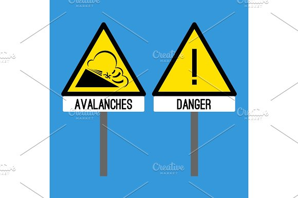 Road Sign Avalanches Snowslide Or Snowslip Rapid Flow Of Snow