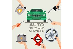 Auto maintenance services set with green car in picture centre