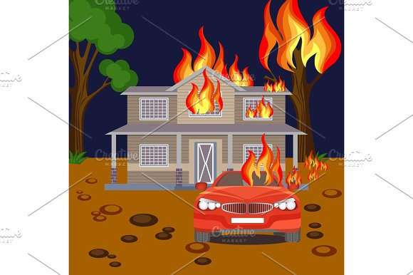 Fire Banner Reaistic Vector Burning House Red Automobile And Tree