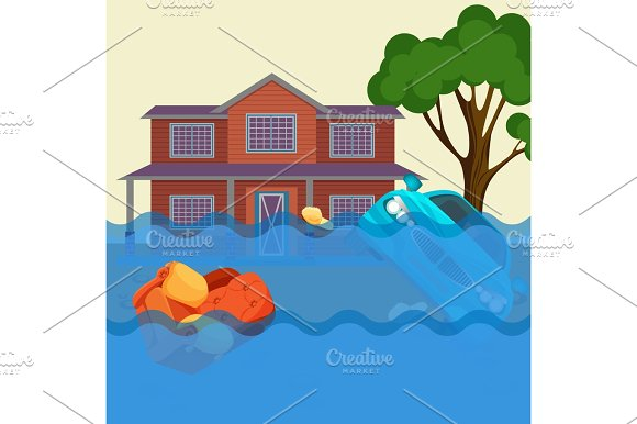 Flood Realistic Natural Disaster Vector Illustration Cottage House Car Trees