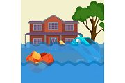 Flood realistic natural disaster vector illustration. Cottage house, car, trees