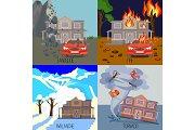Set of natural disasters banners landslide, fire, avalanche, tornado