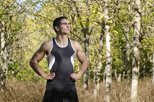 Sportsman posing in the forest