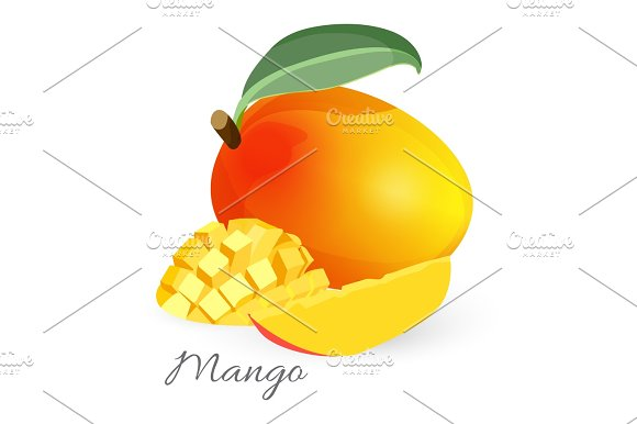 Exotic mango tropical fruit with green leaf sliced and whole