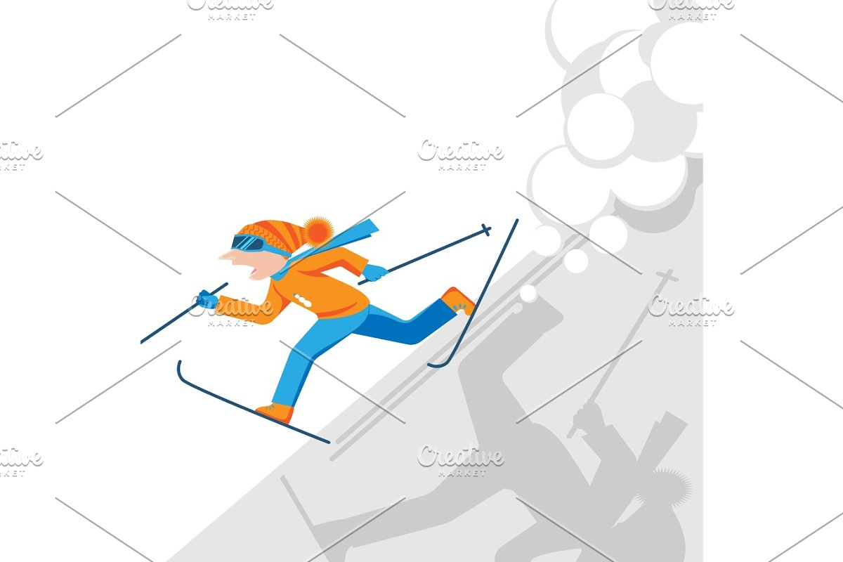 Man escaping from snow avalanche in mountains. Snowslide or snowslip in Illustrations - product preview 8