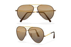 Aviator sunglasses isolated on white. Dark brown reflective lense