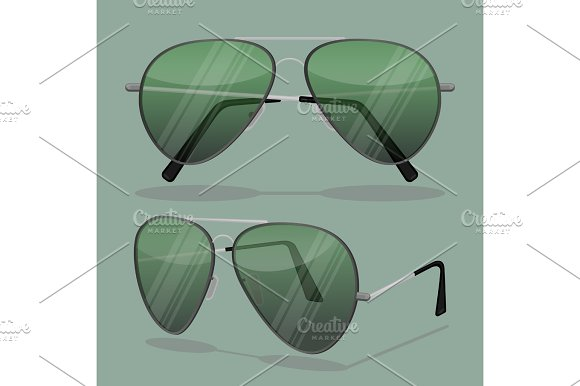 Aviator Sunglasses Isolated On White Dark Brown Reflective Lense