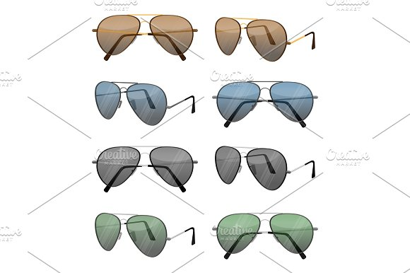 Aviator Sunglasses Isolated On White Dark Brown Reflective Lense