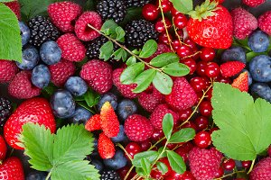 set of  fresh berries