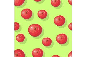 Red Apples Seamless Pattern Vector Illustration