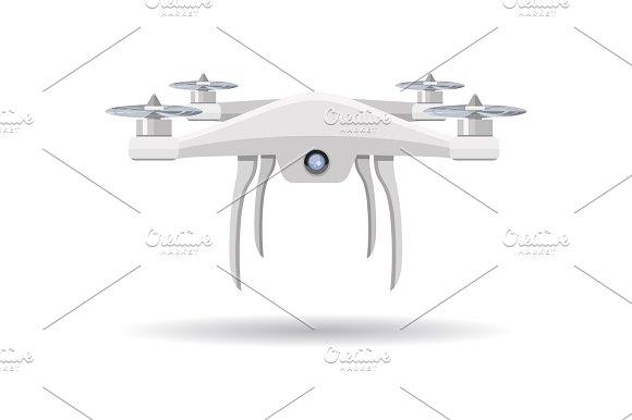 Flying Drone Vector Illustration In Flat Design