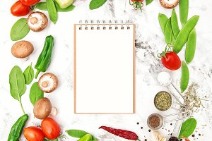 Recipe book fresh vegetables spices