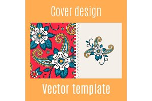 Cover design with floral indian pattern