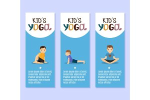 Yoga kids flyers design with boys