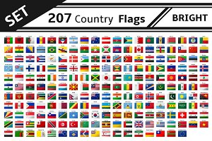 set 207 country flags glitter effect