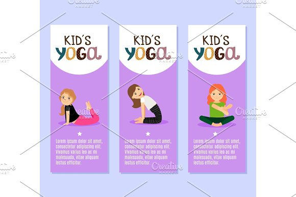 Yoga Kids Flyers Design With Girls
