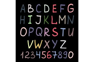 Colorful handwritten alphabet on black