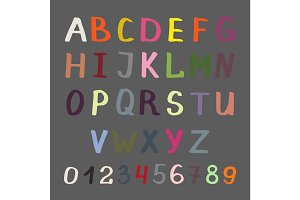 Colorful alphabet on grey