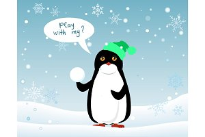 Penguin Animal in Hat and Snowball. Play with Me