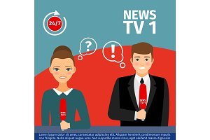 News anchor man and woman