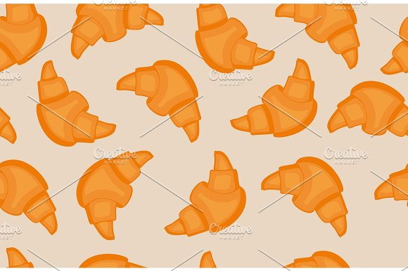 Seamless Pattern With Different Croissants