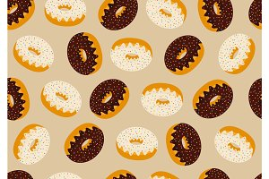 Seamless pattern background with delicious donuts