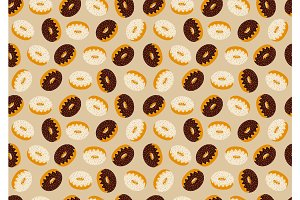 Seamless pattern with many delicious donuts