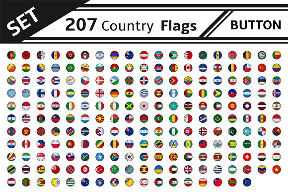 Set 207 Country Flags Button