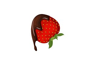 Strawberry with chocolate vector illustration