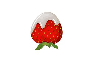 Yogurt or dairy cream with fresh strawberry isolated on white