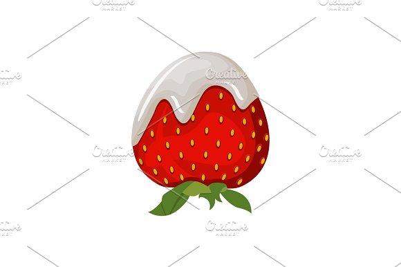 Yogurt Or Dairy Cream With Fresh Strawberry Isolated On White
