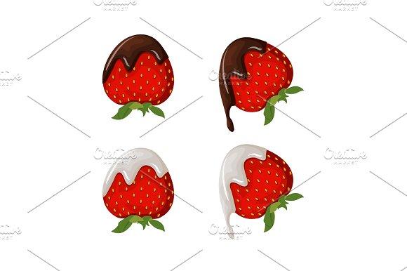 Set Of Tasty Strawberry Illustration With Chocolate Yogurt And Dairy Cream