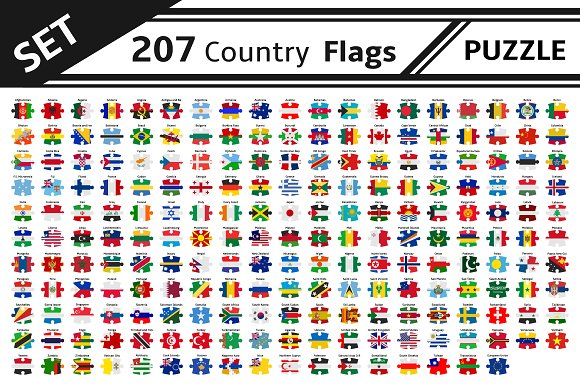 Set 207 Country Flags Puzzle