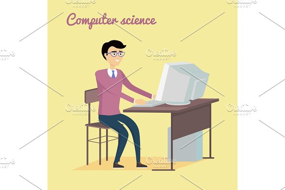 Computer Science Concept In Flat Style Design