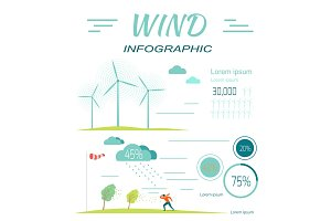 Wind Infographics. Windmills. Meteorology Windsock
