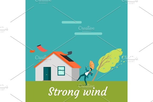 Strong Wind Destroying House And Killing Man