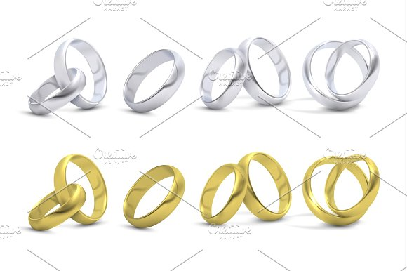 Gold And Silver Wedding Engagement Rings Isolated On White Vector Illustration