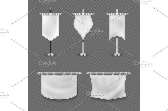 White Blank Medieval Standard Fabric Flag Banners Vector Set